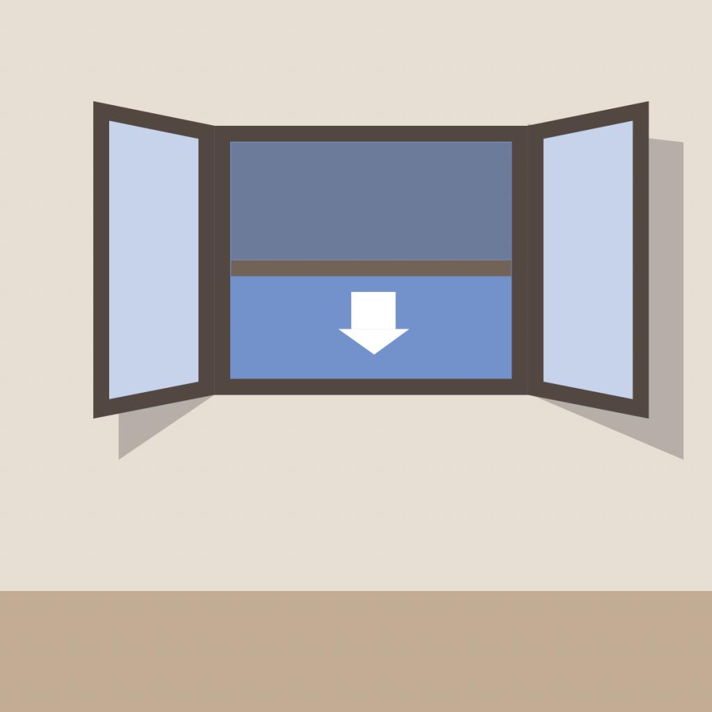 Illustrazione di una zanzariera con apertura verticale