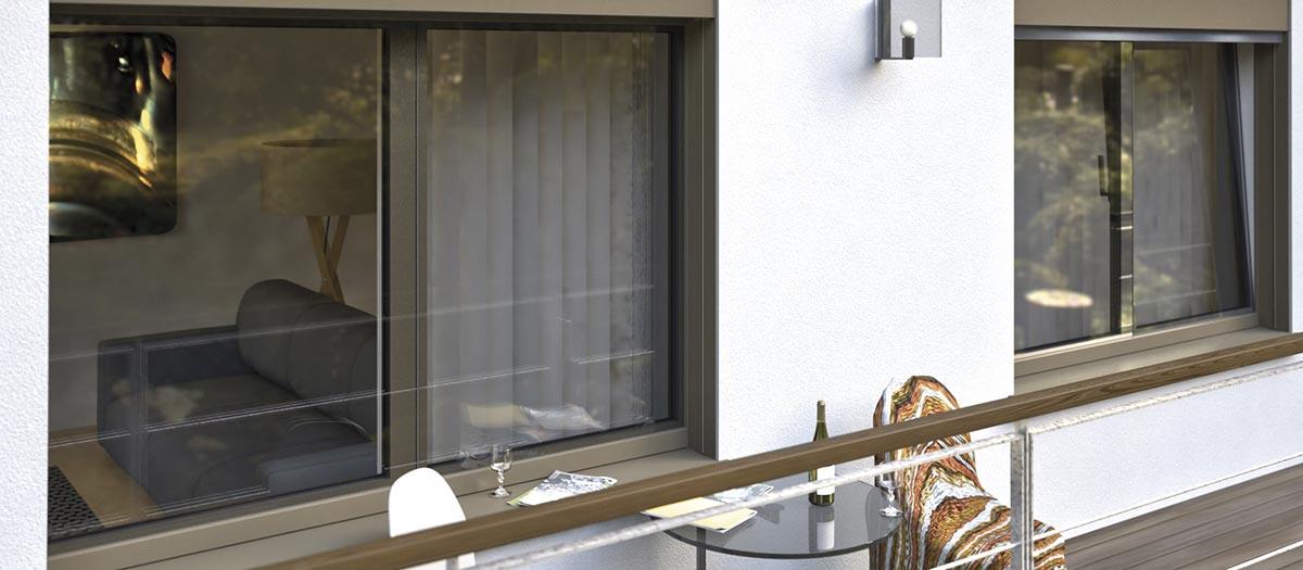 Finestra Finstral con il lato esterno completamento rivestito in vetro